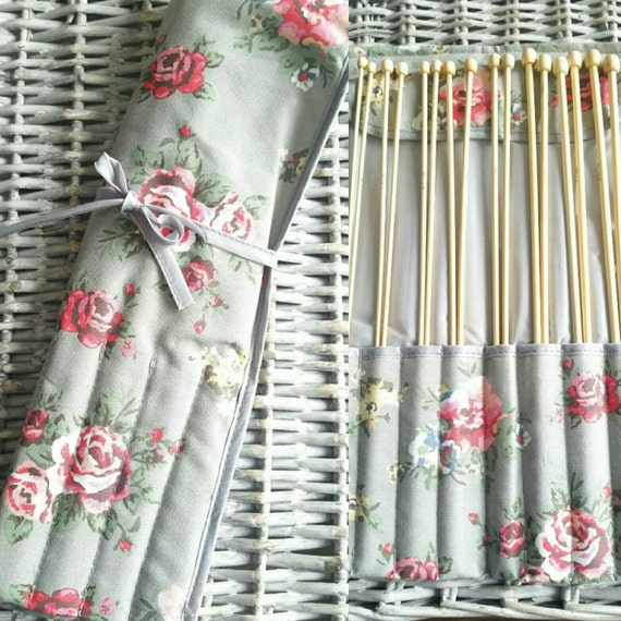Knitting Needle Sets In Case Uk : Knitting needles and roll case rose filled with bamboo