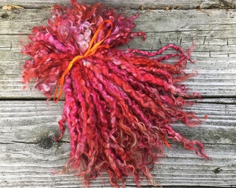 Long Mohair Locks, 1 ounce, Dyed, Spin, Fleece, Locks, Doll Hair, Felt, Pomegranate