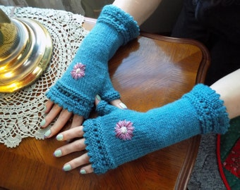Hand Knit Picot Edge with Lace Design and Embroidered Flower Fingerless Gloves/Handwarmers