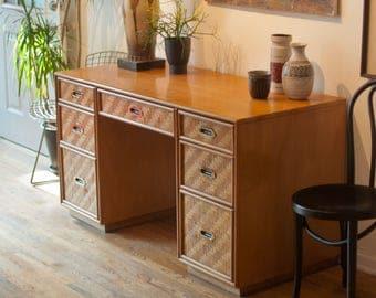 Vintage Rattan Front Desk/ Mid Century Desk