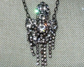 Assemblage Necklace with Brilliant Vintage Brooch