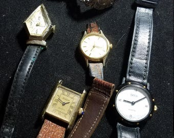 Destash Lot of 6 Watches in need of Batteries, some repair, vintage watch lot
