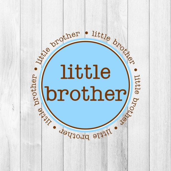 Instant DOWNLOAD Digital PDF Little Brother Blue Brown Printable DIY Iron On to Tee T-Shirt Onesie Transfer Gift Announcement