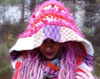 Pink knit hat Crochet hood Women crocheted hat Fairy hat Pixie hat with patchwork Adult knitted hat Gypsy clothing Handknit in Canada