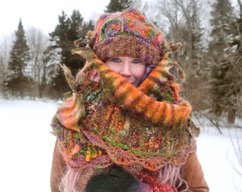 Statement felted scarf knitted with hand spun wool and alpaca / green and orange / made to order/ in canada