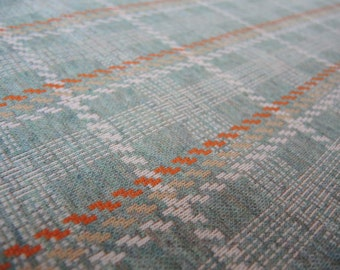 Vintage double knit polyester fabric green plaid 1 yard 34 inches 64 inches wide