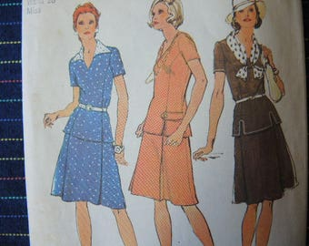 vintage 1970s simplicity sewing pattern 6148 misses two piece dress  size 14