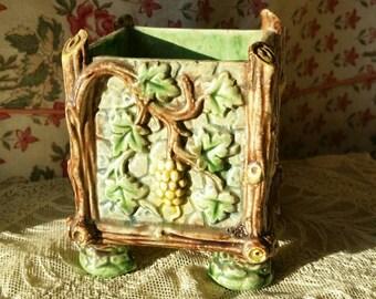 Superb Rare Antique French Majolica Barbotine Oak Tree & Grapevine Design Petit footed Jardinere featuring Grapes,Vine and Acorns