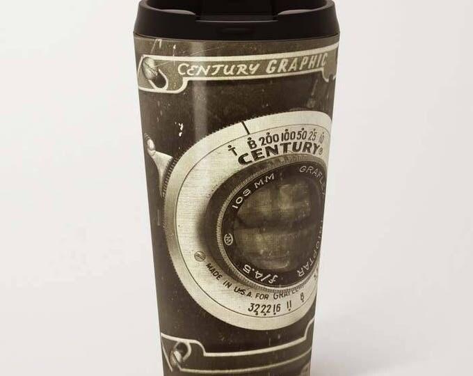 1949 Century Graphic Camera, Metal Travel Mug, Travel Mug, Photography, Vintage Camera, Still Life Photography