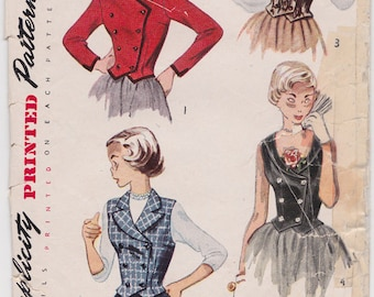 "RARE 50s Size 12 Teen Age WESKIT & JACKET Double-Breasted Vintage Sewing Pattern [Simplicity 3353] Bust 30"", Complete"