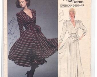 FF 1980s Albert Nipon American Designer Misses' Dress Pattern, Flared Skirt, Vintage Sewing Pattern [Vogue 1485] Size 10, Bust 32.5, UNCUT