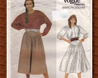 "80s Vintage Vogue 2935 Pattern, American Designer Ralph Lauren, Blouse, Skirt and Belt - Size 10, Bust 32.5"", Partially Cut"