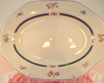 Antique Platter Vintage John Maddock & Son England Royal Vitreous Cobalt Blue and Ivory Floral Octagonal Platter Oval Platter Rare 1800s