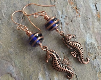 blue lampwork seahorse earrings, cobalt glass, copper seashorses