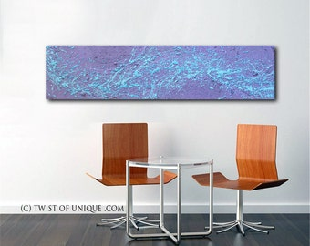 Minimalist abstract painting / ORIGINAL Painting / Large abstract painting/ Textured Art / Industrial Art/ 48x12 /Lavender, purple, blue