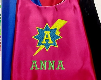 Super Hero Cape,  Embroidered Lightning Bolt Star Cape, Girls Cape Personalized with Name