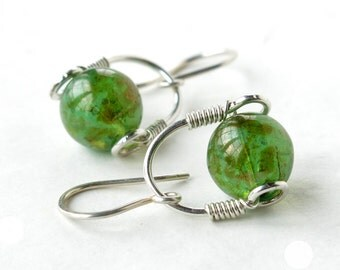 Silver glass earrings - sterling wire wrapped green aqua teal Picasso bead dangle
