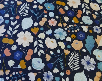 Indigo blue fabric with cute flower print , quilting cotton, Dashwood studio, Millefleur