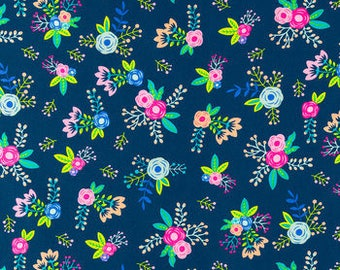FABRIC-Blue Floral by the Yard-Quilt Fabric-Apparel Fabric-Home Decor Fabric-Fat Quarter-Craft Fabric-Fat Quarters
