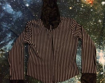 Vintage Black and White Striped Polyester 90's Hooded Zip Up Shirt