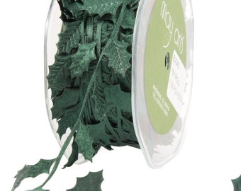 3 Yards May Arts Green Holly Leaves Ribbon Satin Cutouts Free Shipping
