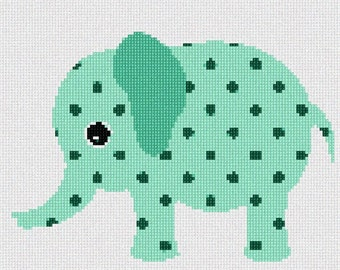 Needlepoint Kit or Canvas: Mint Elephant
