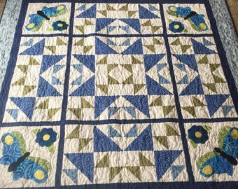 Blue and Green Giant Star and Butterfly Large Lap or Wall Quilt