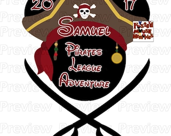 Red Pirate Mouse Head Pirate Mickey Ears Shirt Transfer DIY Pirate Mouse Head Shirt – Pirate League Shirt Image