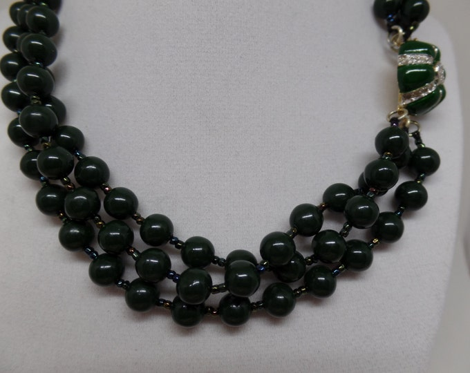 VOGUE BIJOUX Signed Vintage Triple Strand Green Beaded Necklace