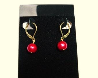 Dark Red Beaded Earrings
