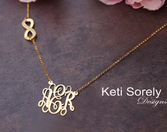 Monogram Necklace With Infinity Charm - Sideways Infinity Charm with CZ Stones (Order Any Initials) - Sterling Silver or Yellow Gold Overlay