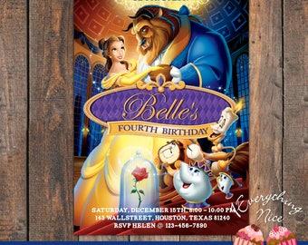 Beauty and the Beast Birthday Invitation Invite Card