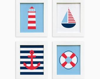 Printable Nautical Wall Art - Set of 4