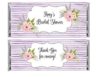 Candy Bar Wrapper - floral lavender, purple bridal shower candy bar wrappers - set of 6 personalized wrappers