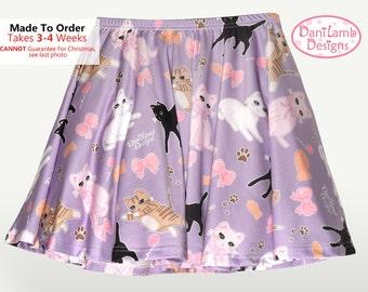 Kawaii Cat Skirt Fairy Kei Cat Skirt Pastel Cat Skirt Kitten Kitty Pattern Skirt Skater Skirt Size XS Through 3XL *Made 2 Order*