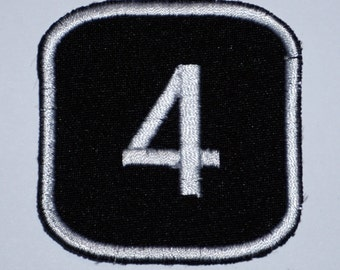 Number 4  - embroidered patch, BUY3 GET4, 2,4 X 2,4 INCH