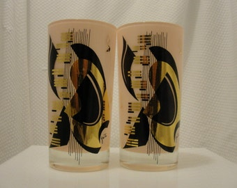 Gorgeous Set of Signed Gaiti Pink Frosted Piano Musical Glass Highball Tumblers from the 1950's