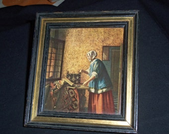 Vintage Pictures W/ Frame,old woman working in her sewing Room Picture, House Blessing.Old Wall Decor.Vintage Art.