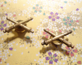 2 Brass Army Military Crossed Cannon Lapel Pins
