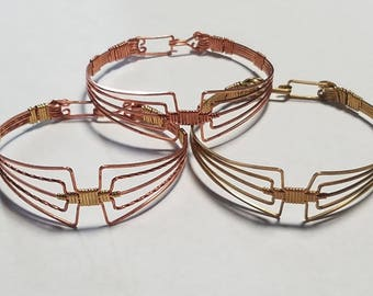 Copper or Brass, Or Multi Metal Aztec Bracelet