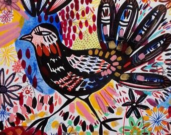 Bird Art Bird Painting Bird Drawing Cute Bird - Home Decor Original Painting Bird Flowers Garden Art - Bird Wall Art Bird Fine Art Animal