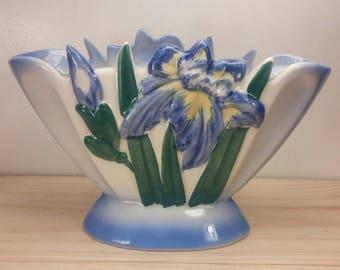 Gorgeous Iris Themed Oval Shaped Excellent Condition Vintage Flower Pot / Vase