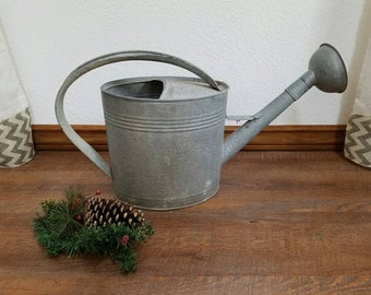 "Large Watering Can Primitive Garden Flower Garden Watering Can with 5"" spout"