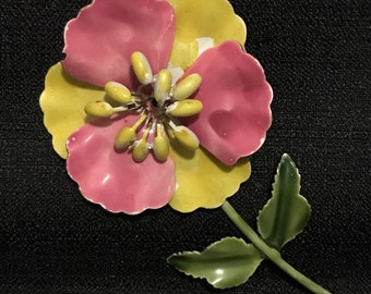 Brooch Metal Flower Pink and Yellow with Green Stem Vintage Jewelry Kitsch 1960's Flower Power