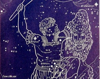 1911 Antique print of STARS. CONSTELLATIONS. Astronomy print. Zodiacal Constellations. Zodiac. 116 years old celestial chart