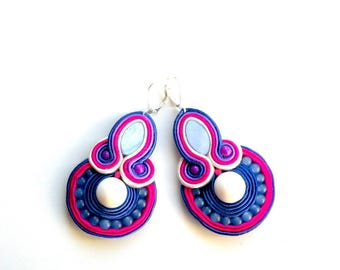 Earrings-Soutache Jewelry-Hand Embroidered Marine