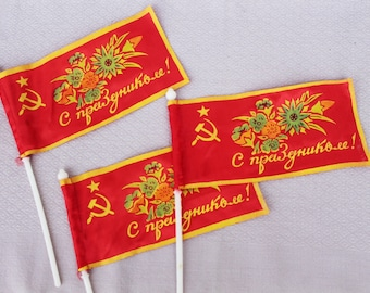 Party flags set of 3 Soviet vintage party flags Small Soviet flags Soviet memorablia Sickle and hammer Communist flags Communist party flag