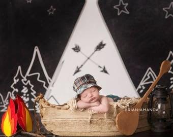 Chalkboard Campsite - Vinyl Photography  Backdrop Photo Prop