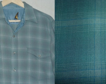 1960s Shirt / M / Pendleton / Pearl Snaps / Western Shirt / Rockabilly Shirt / Vintage Pendleton Shirt / Work Shirt / Plaid Shirt / Wool