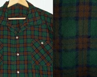 1960s Shirt / XXL - XXXL / Flannel / Wool / Grid / Plaid / Rockabilly / Work Shirt / Hunting / Vintage 1960s Mens Clothing / 60s Shirt